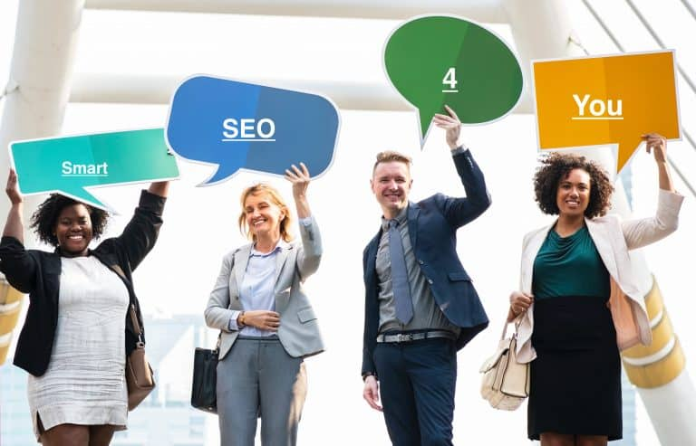 Smart SEO for you - adults are showing the poster with the brand name