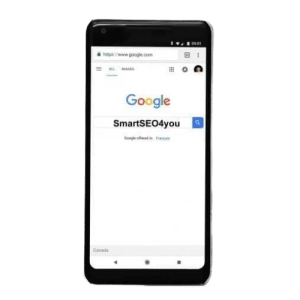 The image shows a mobile phone with search engine and a smartseo4you query in it