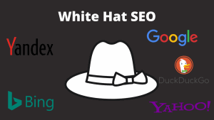 The image shows the. white hat with the black background and search engines' logos: Google, Bing, Yahoo, Yandex,
