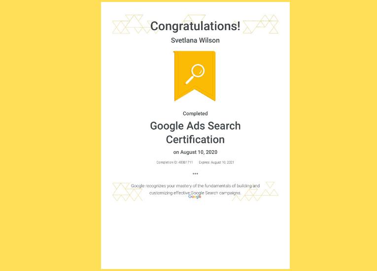 Google Adwords Search Certificate