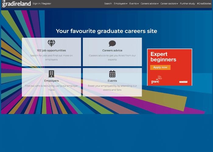 Gradireland website's screenshot