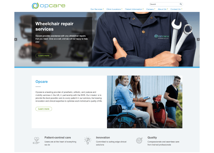 Opcare website's screenshot