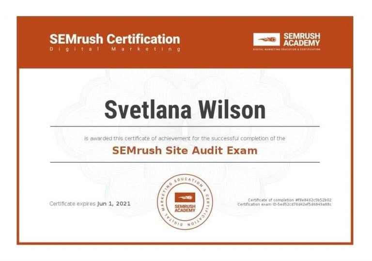 SEO Site Audit Exam Certificate