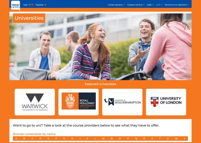 TargetCareers website's screenshot