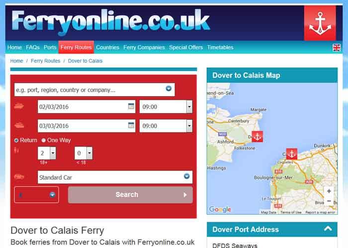 ferryonline website's screenshot