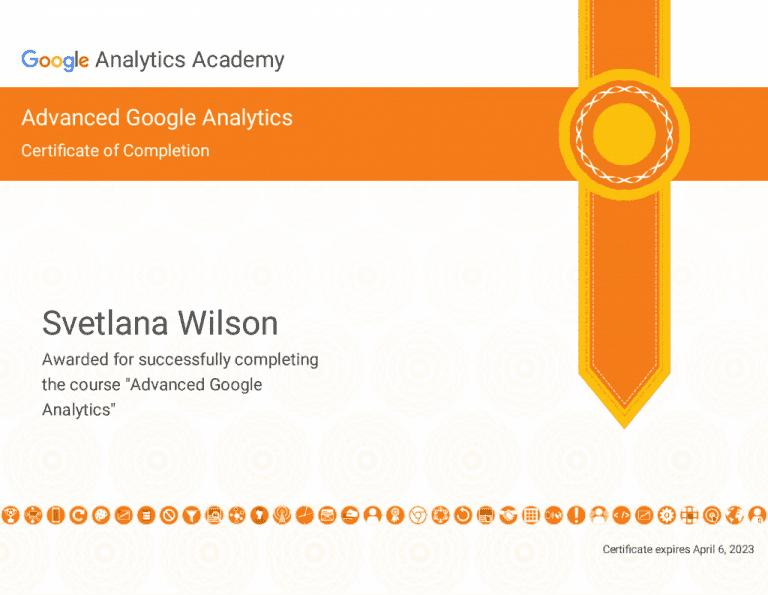 Google Analytics Advanced CourseCerificate