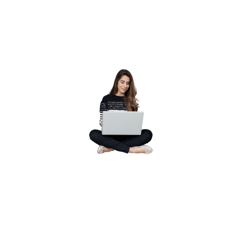 An image shows a woman typing in something using her laptop