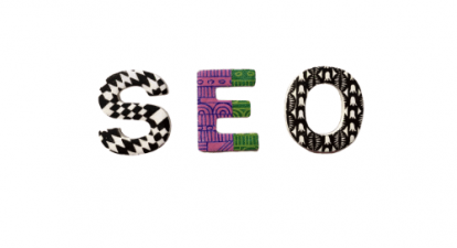 Colourful letters, which say SEO